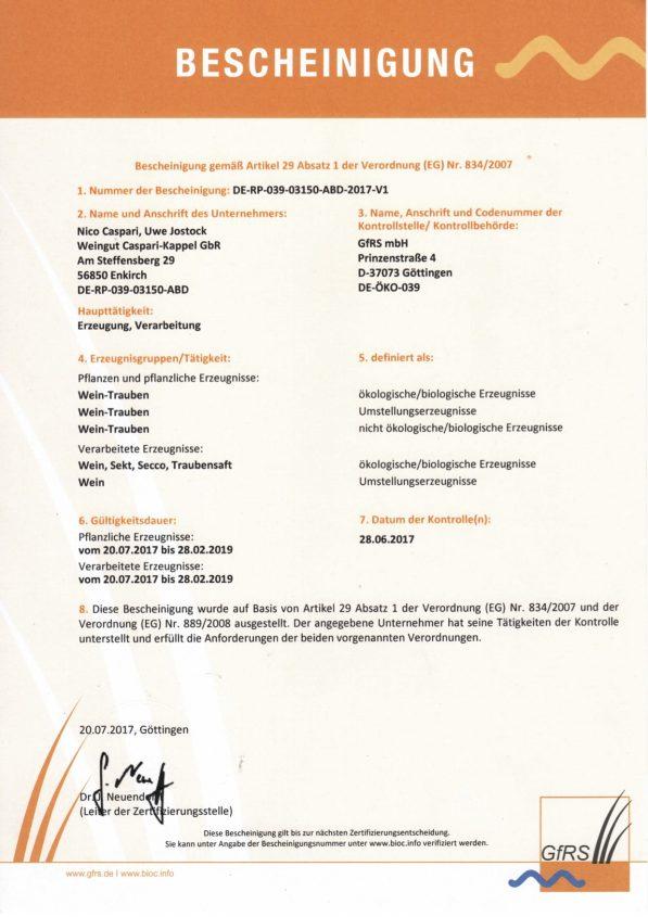Bio Zertifikat Seite 2